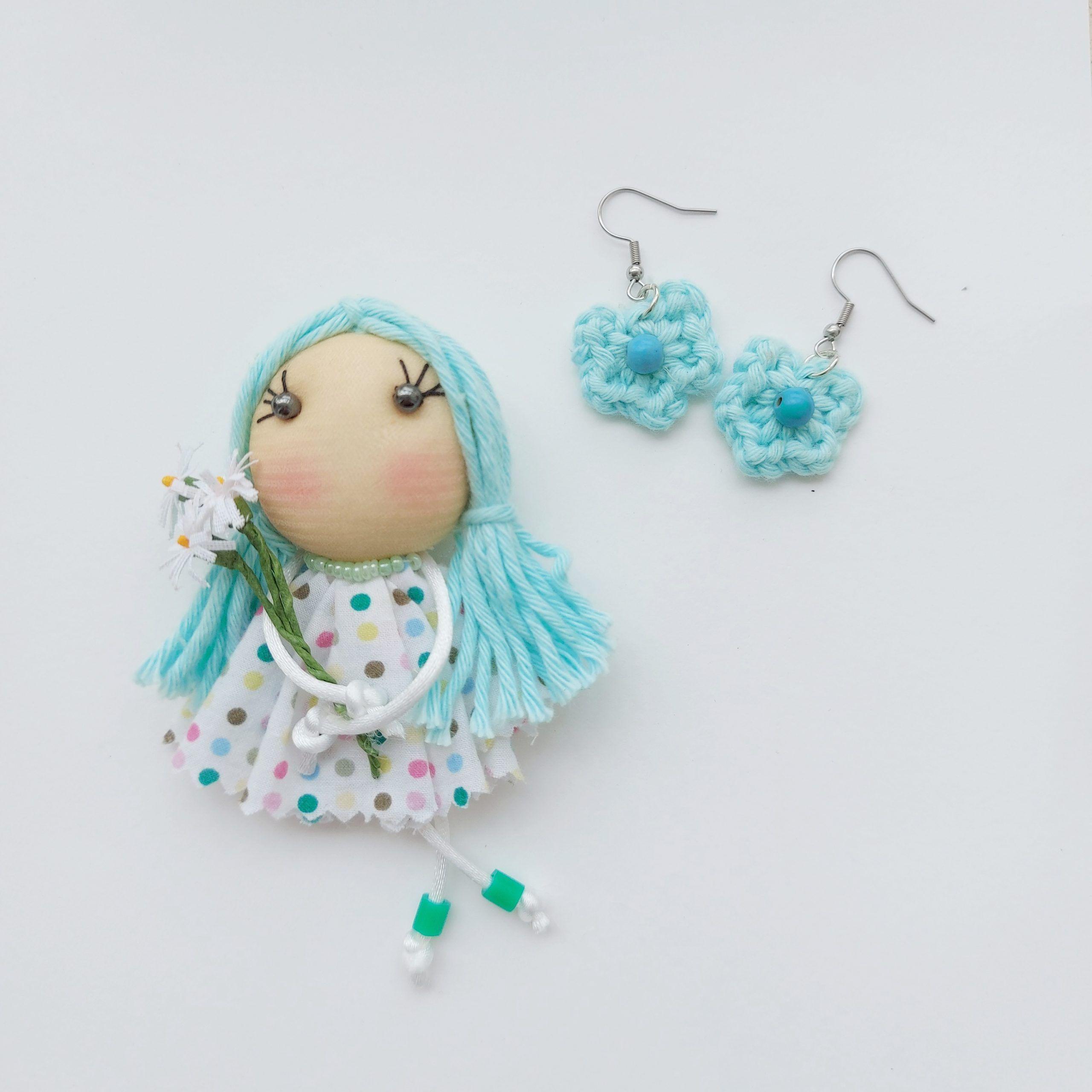 Broche muñeca primavera aguamarina